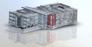 A 3D rendering of a building