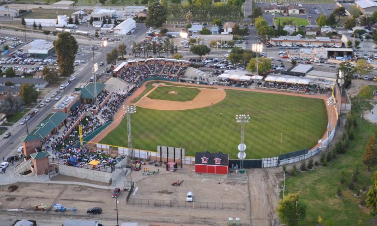 Baseball Stadium for the Visalia Oaks, Visalia, California, Aerial View