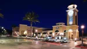 La Costa Town Square, Carlsbad, CA, at night showing retail spaces