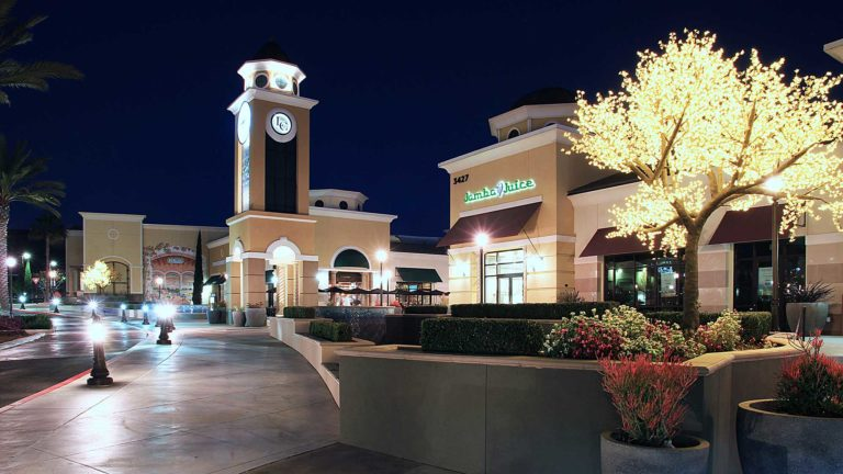 La Costa Town Square, Carlsbad, CA, at night showing large clock